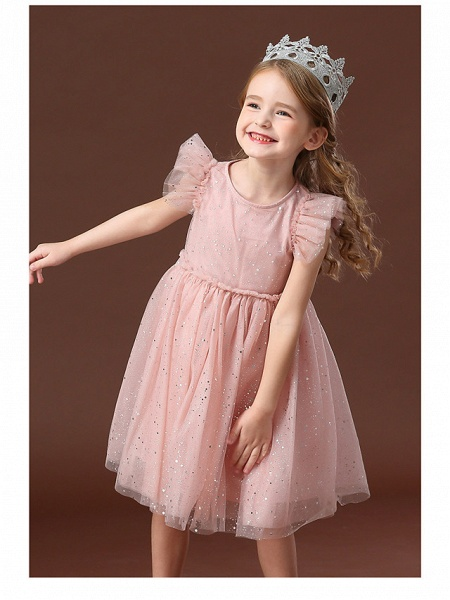 Princess / Ball Gown Short / Mini Wedding / Party Flower Girl Dresses - Tulle Short Sleeve Jewel Neck With Ruffles / Paillette_5