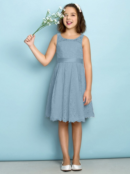 A-Line Scoop Neck Knee Length All Over Floral Lace Junior Bridesmaid Dress With Lace / Natural / Mini Me_30