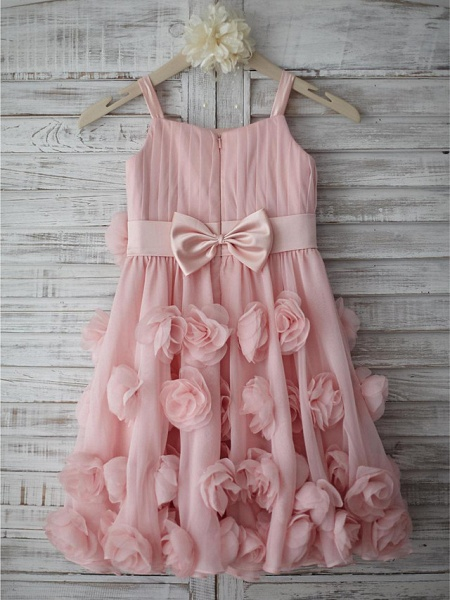 A-Line Knee Length Holiday Flower Girl Dresses - Chiffon Sleeveless Straps With Sash / Ribbon / Bow(S) / Draping_2