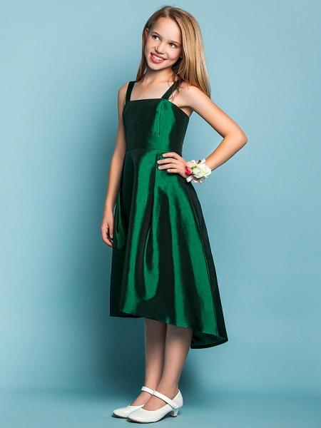 A-Line Straps Asymmetrical Taffeta Junior Bridesmaid Dress With Sash / Ribbon / Spring / Summer / Fall / Apple / Hourglass_3