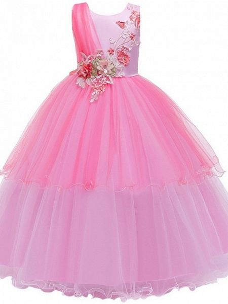 Princess / Ball Gown Floor Length Wedding / Party Flower Girl Dresses - Tulle Sleeveless Jewel Neck With Bow(S) / Appliques_5