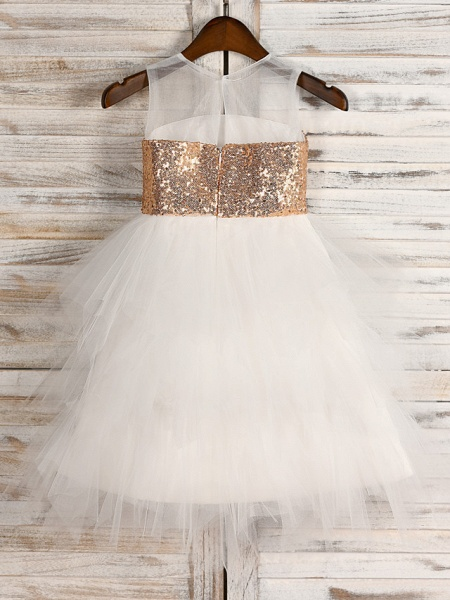 A-Line Tea Length Wedding / First Communion / Pageant Flower Girl Dresses - Tulle / Sequined Sleeveless Jewel Neck With Belt_2