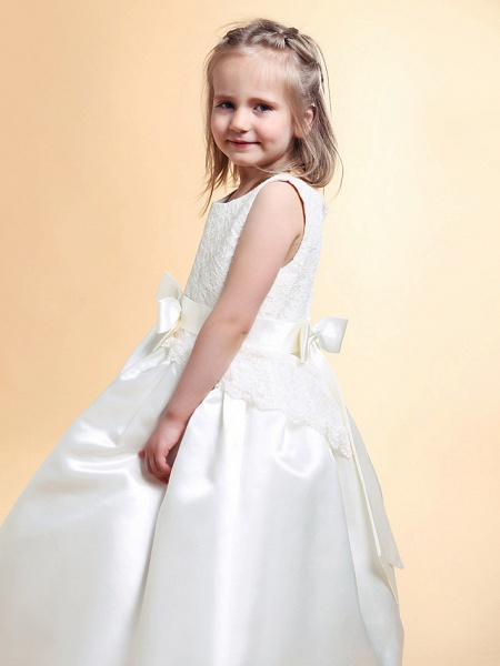 Princess / A-Line Floor Length Wedding / First Communion Flower Girl Dresses - Lace / Satin Sleeveless Scoop Neck With Lace / Sash / Ribbon / Bow(S) / Spring / Summer / Fall / Winter_4