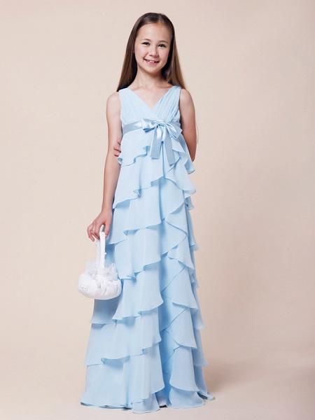 A-Line V Neck Floor Length Chiffon / Stretch Satin Junior Bridesmaid Dress With Bow(S) / Empire / Spring / Summer / Fall / Winter_1