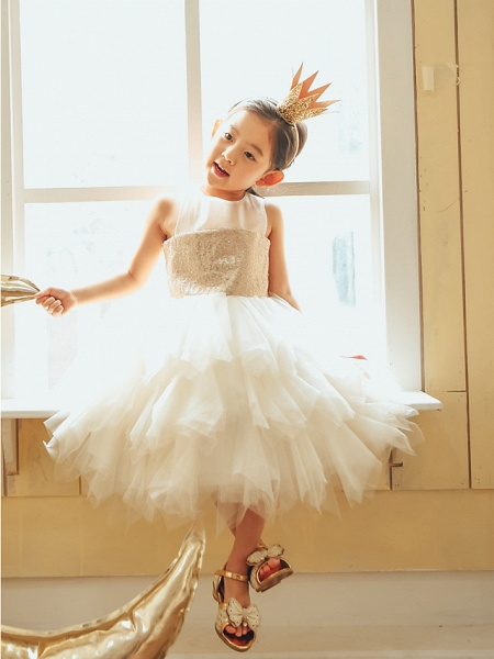 Ball Gown Knee Length Wedding / First Communion / Birthday Flower Girl Dresses - Tulle / Sequined Sleeveless Jewel Neck With Paillette_1