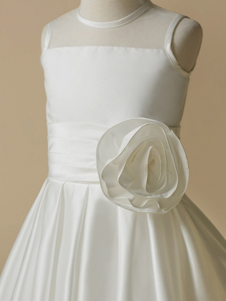 A-Line Tea Length Wedding / First Communion Flower Girl Dresses - Taffeta Sleeveless Jewel Neck With Flower_4