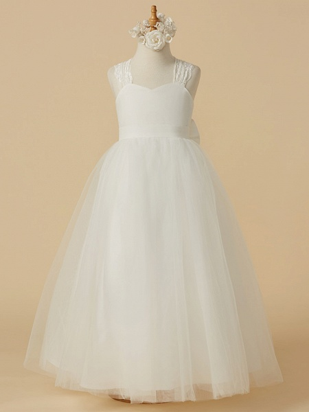 Princess Floor Length Wedding / First Communion Flower Girl Dresses - Lace / Satin / Tulle Sleeveless Halter Neck With Bow(S)_1