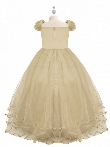 Princess Maxi Birthday / Pageant Flower Girl Dresses - Chiffon / Tulle Short Sleeve Boat Neck With Beading / Appliques / Paillette_2