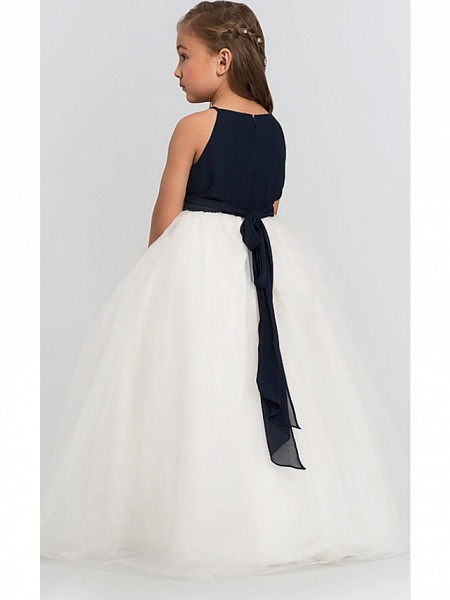 A-Line Floor Length Wedding / Party Flower Girl Dresses - Satin / Taffeta / Tulle Sleeveless Jewel Neck With Bow(S) / Tier_5