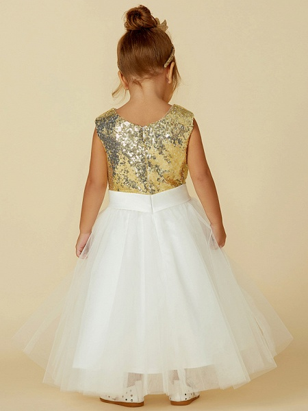 Princess Knee Length Pageant Flower Girl Dresses - Tulle / Sequined Sleeveless Jewel Neck With Sash / Ribbon / Bow(S) / Flower_2
