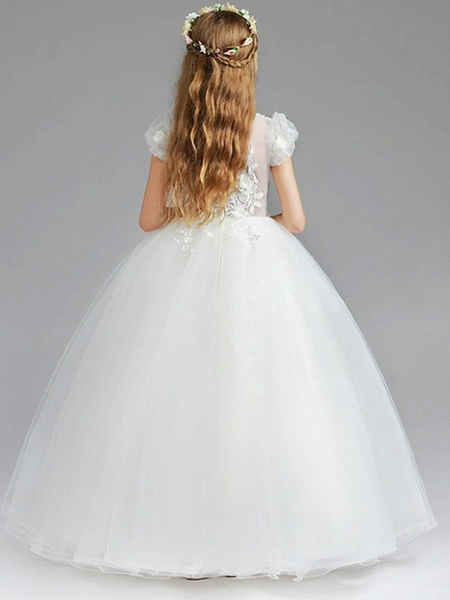 Princess / Ball Gown Knee Length Wedding / Party Flower Girl Dresses - Tulle Short Sleeve V Neck With Tier / Appliques_4