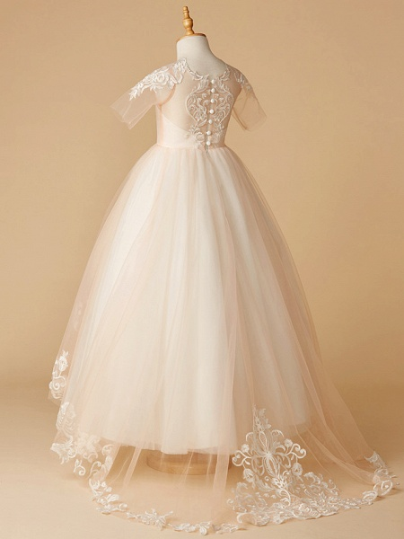 A-Line Sweep / Brush Train Wedding / First Communion / Pageant Flower Girl Dresses - Tulle Half Sleeve Jewel Neck With Appliques_2