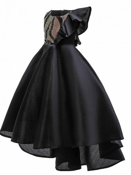 A-Line Round Asymmetrical Cotton Junior Bridesmaid Dress With Bow(S) / Ruffles_5