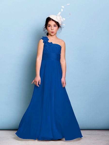 A-Line One Shoulder Floor Length Chiffon Junior Bridesmaid Dress With Sash / Ribbon / Criss Cross / Ruched / Natural_33