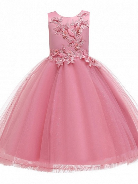 Princess / Ball Gown Knee Length Wedding / Party Flower Girl Dresses - Tulle Sleeveless Jewel Neck With Bow(S) / Beading / Appliques_5