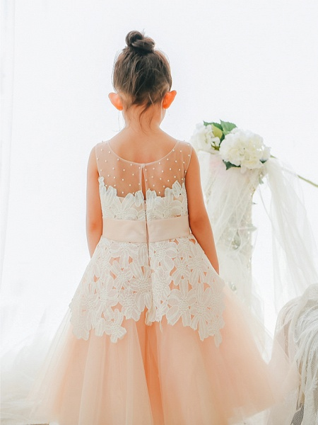 Ball Gown Tea Length Wedding / Birthday / Pageant Flower Girl Dresses - Lace / Tulle Sleeveless Jewel Neck With Bows / Pearls_2