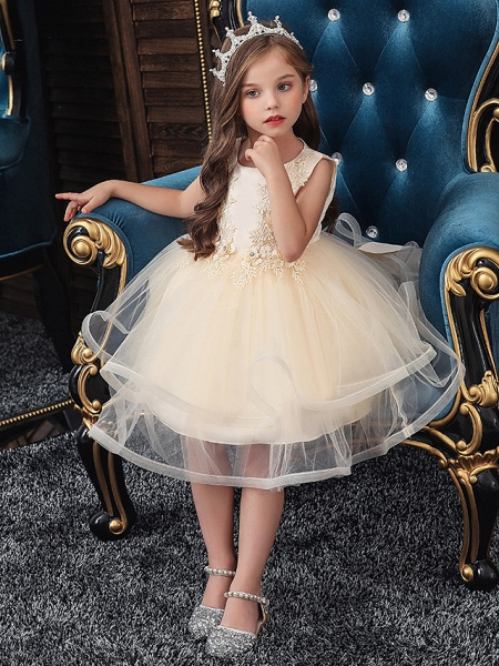 A-Line Knee Length Wedding / Party / Pageant Flower Girl Dresses - Tulle / Matte Satin / Poly&Cotton Blend Sleeveless Jewel Neck With Beading / Solid_5