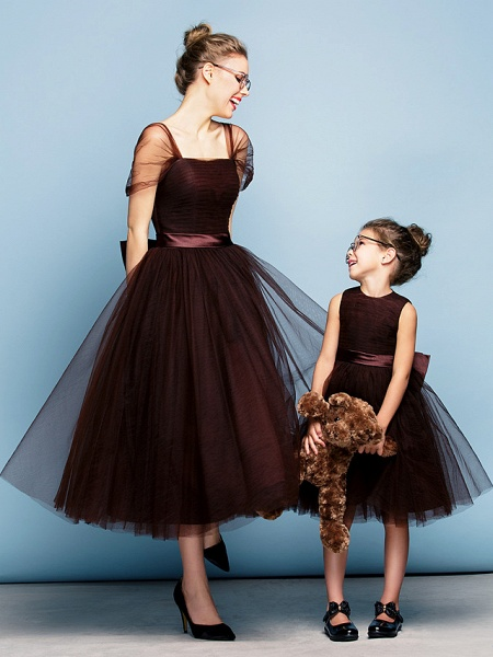 Princess Tea Length Party / Prom / Formal Evening Flower Girl Dresses - Tulle Short Sleeve Square Neck With Bow(S) / Ruched / Elegant_4