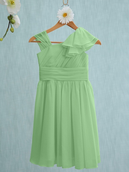 Sheath / Column Straps Knee Length Chiffon Junior Bridesmaid Dress With Ruffles / Side Draping / Natural_28
