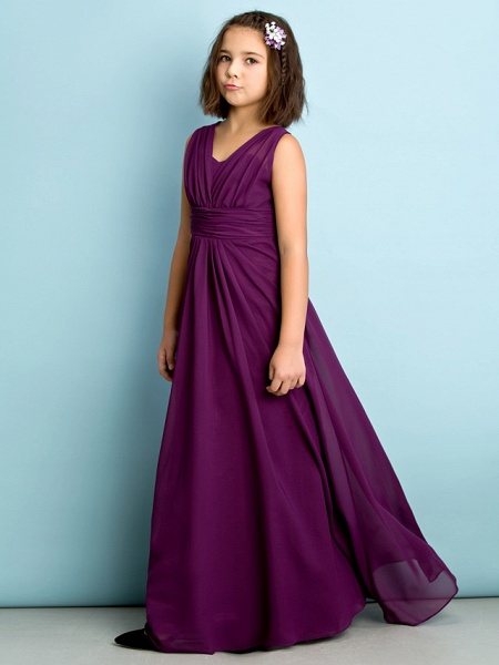 A-Line V Neck Floor Length Chiffon Junior Bridesmaid Dress With Criss Cross / Natural / Mini Me_4