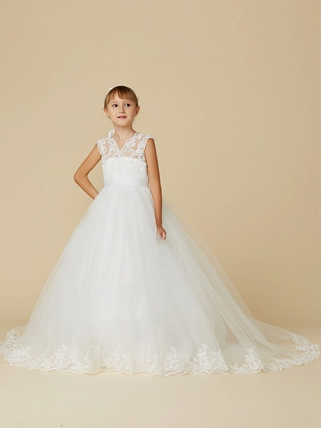 Princess Court Train Wedding / First Communion Flower Girl Dresses - Lace / Tulle Sleeveless V Neck With Sash / Ribbon / Appliques_4