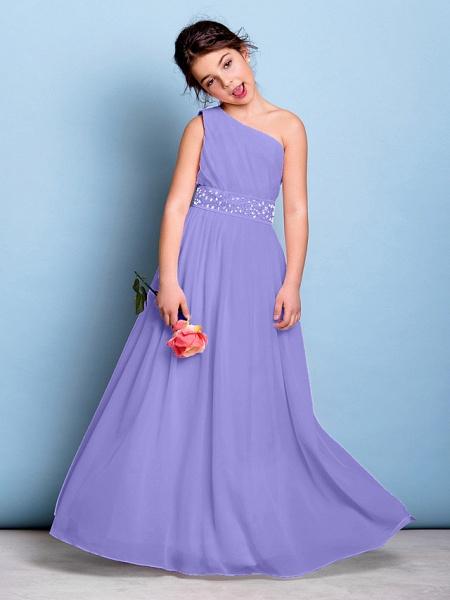 A-Line One Shoulder Floor Length Chiffon Junior Bridesmaid Dress With Sash / Ribbon / Beading / Side Draping / Natural_38