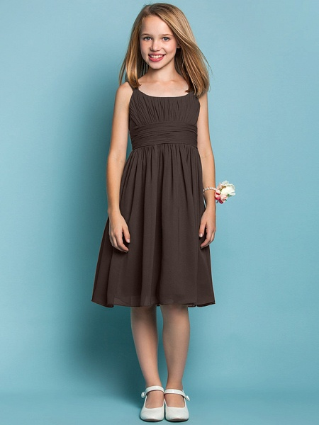 Sheath / Column Straps Knee Length Chiffon Junior Bridesmaid Dress With Ruched / Draping / Spring / Summer / Fall / Apple / Hourglass_23
