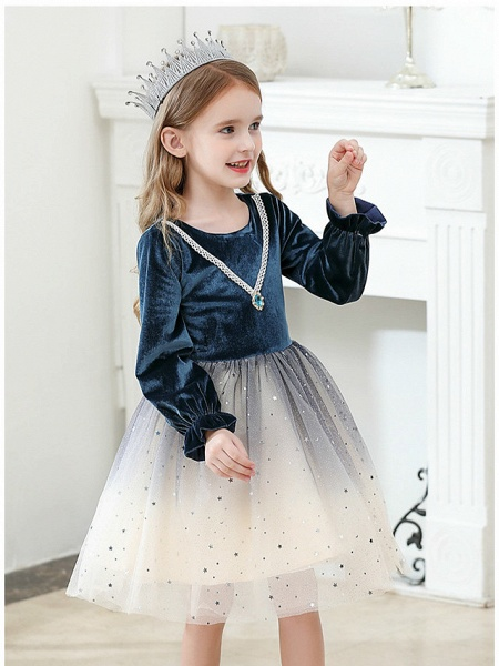 Princess / Ball Gown Knee Length Wedding / Party Flower Girl Dresses - Tulle / Velvet Long Sleeve Jewel Neck With Crystals / Paillette_5