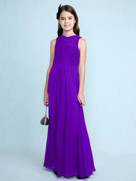 Sheath / Column Scoop Neck Floor Length Chiffon / Lace Junior Bridesmaid Dress With Lace / Natural_40