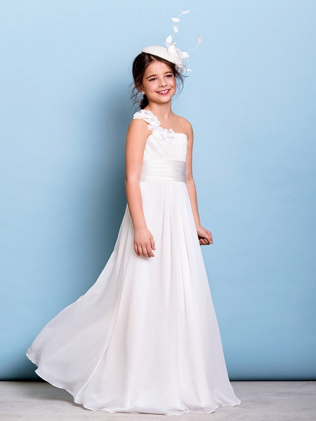 A-Line One Shoulder Floor Length Chiffon Junior Bridesmaid Dress With Sash / Ribbon / Criss Cross / Ruched / Natural_4