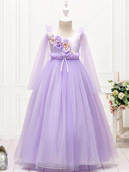 Princess / Ball Gown Floor Length Wedding / Party Flower Girl Dresses - Tulle Long Sleeve Jewel Neck With Bow(S) / Flower_4