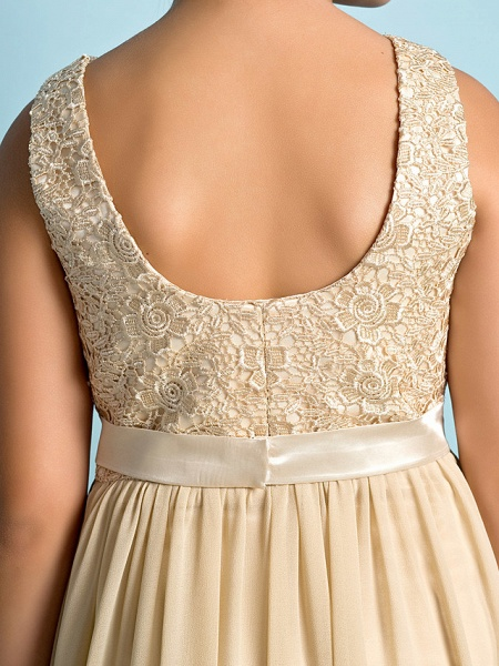 A-Line Scoop Neck Floor Length Chiffon / Lace Junior Bridesmaid Dress With Lace / Natural / Mini Me_10