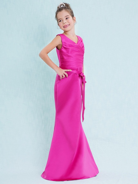 Mermaid / Trumpet V Neck Floor Length Satin Junior Bridesmaid Dress With Criss Cross / Natural_4