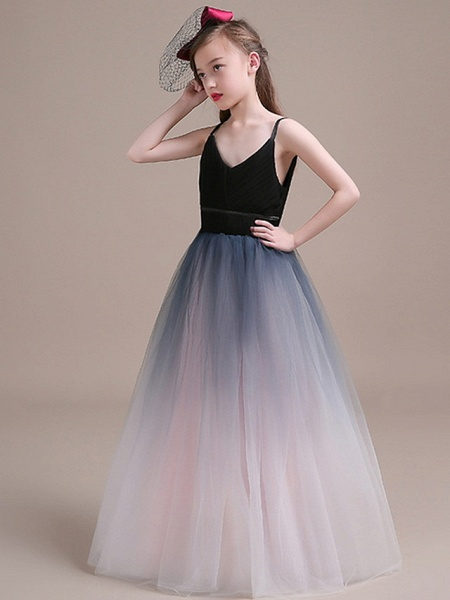 Ball Gown Floor Length Party / Pageant Flower Girl Dresses - Polyester Sleeveless Spaghetti Strap With Tiered_3