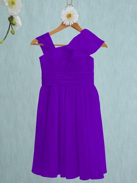Sheath / Column Straps Knee Length Chiffon Junior Bridesmaid Dress With Ruffles / Side Draping / Natural_36