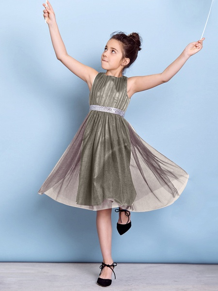 A-Line Jewel Neck Knee Length Tulle Junior Bridesmaid Dress With Sash / Ribbon / Sequin / Draping / Natural_11