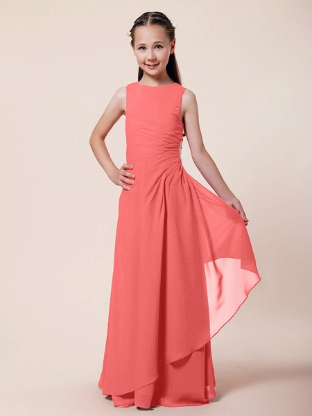 A-Line / Sheath / Column Bateau Neck Floor Length Chiffon Junior Bridesmaid Dress With Beading / Side Draping / Spring / Summer / Fall / Winter / Wedding Party_9