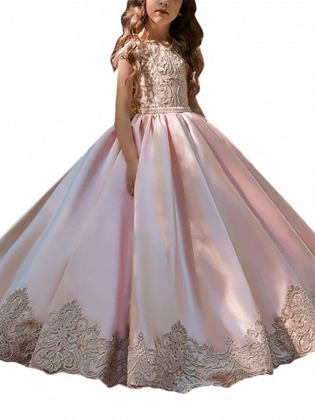 Ball Gown Sweep / Brush Train Wedding / Birthday / Pageant Flower Girl Dresses - Lace / Satin Chiffon Cap Sleeve Jewel Neck With Acrylic / Appliques_2