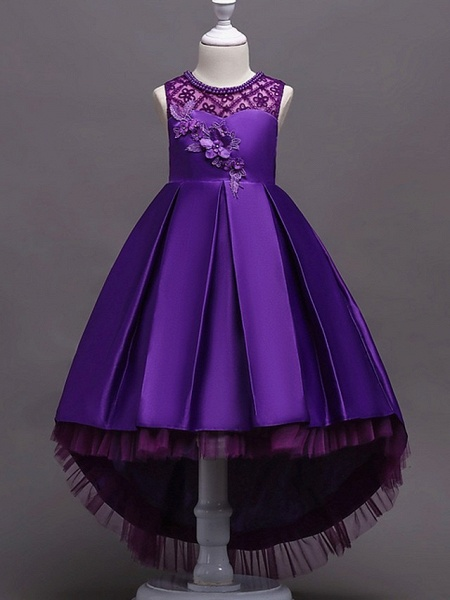 A-Line Asymmetrical Pageant Flower Girl Dresses - Satin Sleeveless Jewel Neck With Lace / Bow(S) / Beading_2