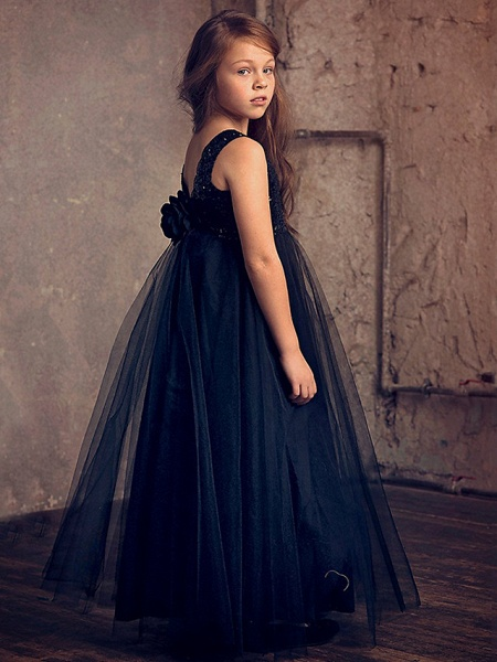 Princess / Ball Gown Ankle Length Wedding / Party Flower Girl Dresses - Lace / Tulle Sleeveless Jewel Neck With Flower / Paillette_3