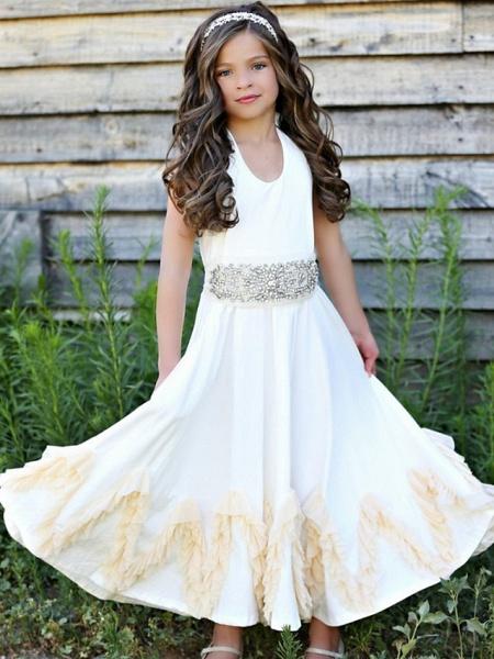 A-Line Knee Length Wedding / Party Flower Girl Dresses - Nylon Half Sleeve Jewel Neck With Sash / Ribbon / Appliques_1