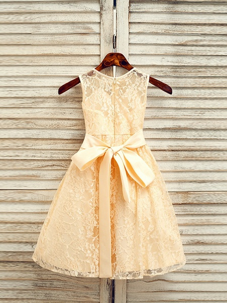 A-Line Tea Length Wedding / First Communion / Pageant Flower Girl Dresses - Lace / Satin Sleeveless Jewel Neck With Sash / Ribbon_2