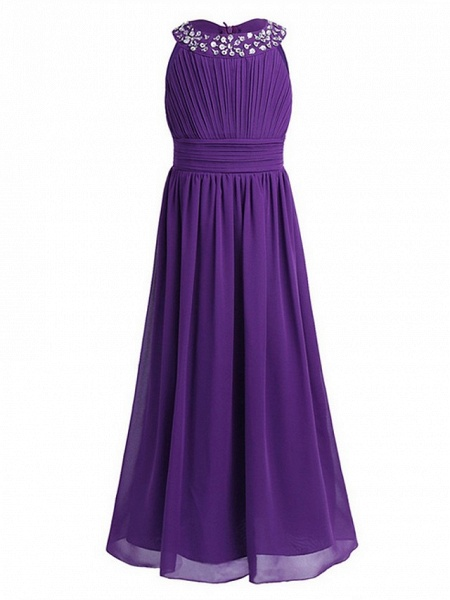 A-Line Round Floor Length Chiffon / Sequined Junior Bridesmaid Dress With Beading / Ruching_3