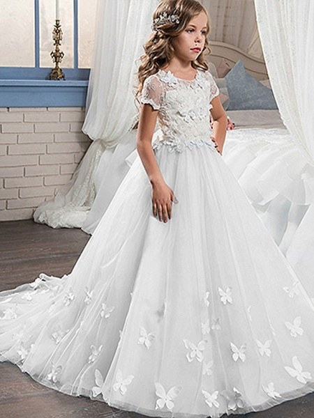 Ball Gown Sweep / Brush Train Wedding / Birthday / Pageant Flower Girl Dresses - Tulle / Cotton Short Sleeve Jewel Neck With Lace / Embroidery / Appliques_4