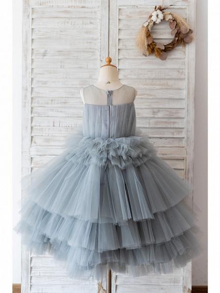 Ball Gown Knee Length Wedding / Birthday Flower Girl Dresses - Tulle Sleeveless Jewel Neck With Tier_2