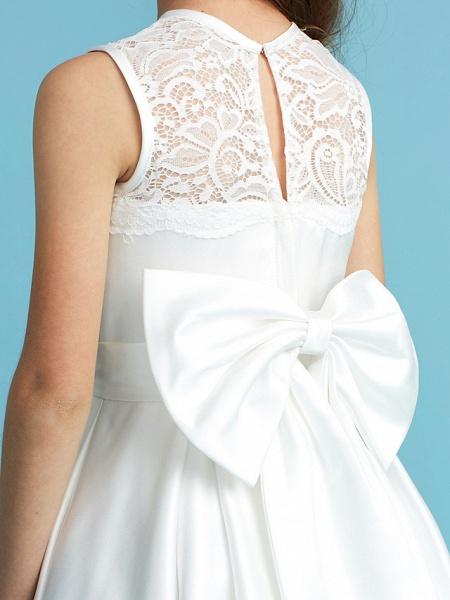 Princess / A-Line Jewel Neck Floor Length Lace / Satin Junior Bridesmaid Dress With Lace / Bow(S) / Pleats_9