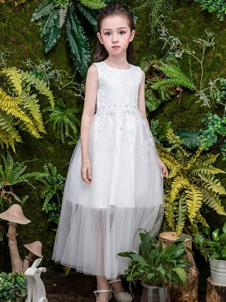 A-Line Ankle Length Wedding Flower Girl Dresses - Tulle Sleeveless Jewel Neck With Bow(S) / Tier / Solid_1