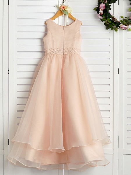 A-Line Jewel Neck Ankle Length Organza / Satin Junior Bridesmaid Dress With Beading / Tier_2