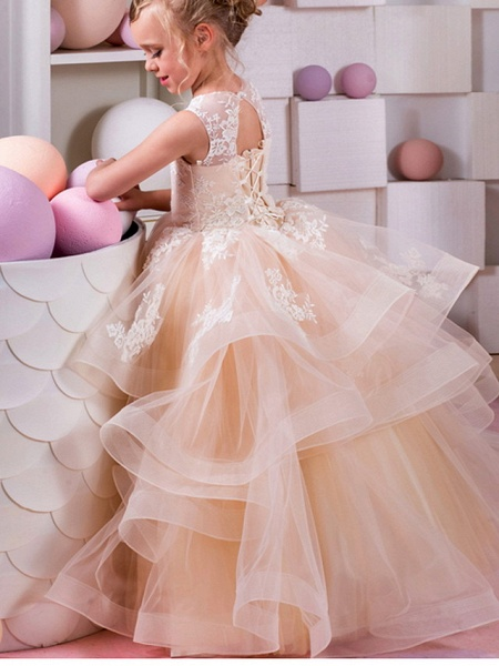 Ball Gown Floor Length Wedding / Birthday Flower Girl Dresses - Polyester Sleeveless Jewel Neck With Tier / Appliques_1