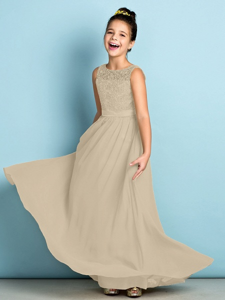 A-Line Scoop Neck Floor Length Chiffon / Lace Junior Bridesmaid Dress With Lace / Natural / Mini Me_22
